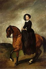 Portrait of artist's daughter Celina on horseback.