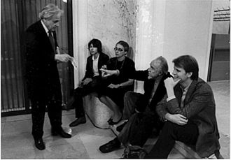 International Society for Contemporary Music - From left: György Ligeti, his son Lukas, his wife Vera Spitz, Conlon Nancarrow and Michael Daugherty at ISCM World Music Days in Graz, Austria, 1982