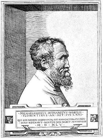 Гравюра с портретом Микеланджело (Кондиви)