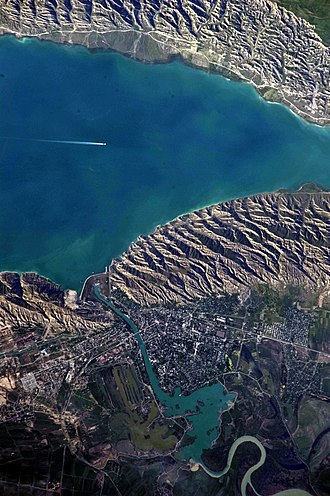 Mingachevir - View of Mingachevir reservoir from satellite.