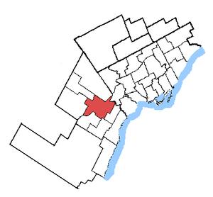 Mississauga—Brampton South - Mississauga—Brampton South in relation to other Greater Toronto ridings