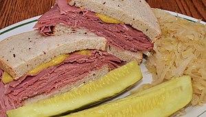 Corned beef - A corned beef on rye bread sandwich served in an American restaurant