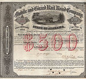 Mobile and Girard Railroad - Bond of the Mobile and Girard Rail Road Company from the 1st July 1866