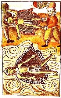 Los conquistadores españoles deshaciéndose del cuerpo de Moctezuma, Códice Florentino, siglo XVI.