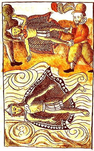 Itzquauhtzin - Spaniards disposing of the bodies of Moctezuma II and Itzquauhtzin