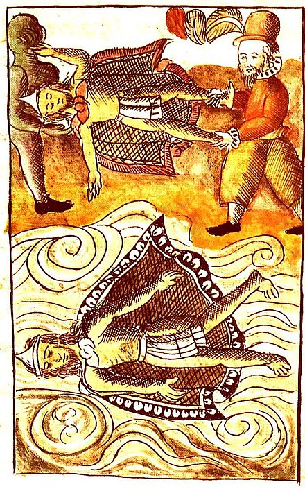 The death of Moctezuma, depicted in the Florentine Codex Moctezuma and itzquauhtzin.jpg