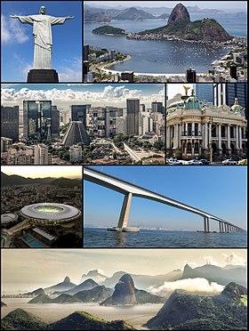 Do alto, da esquerda para a direita: Cristo Redentor, praia de Botafogo, panorama do centro da cidade, Ponte Rio-Niterói, Estádio do Maracanã e panorama da Barra da Tijuca vista a partir da Pedra da Gávea.