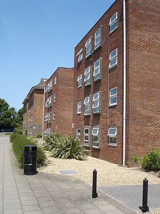 Wessex Lane Halls - Montefiore House 2 (Block F), as seen from the complex entrance, with Block J of Montefiore 3 behind.