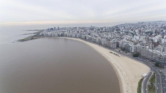 Rambla, Pocitos, Montevideo, Uruguay, aerial view.