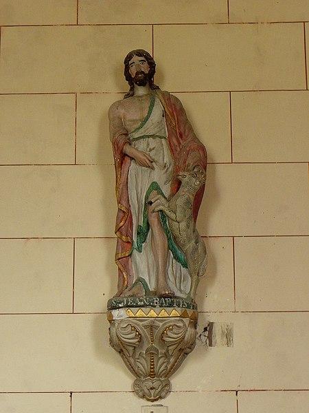 Église Saint-Martin de Montreuil, commune de Montreuil-Poulay (53). Statue de Saint-Jean-Baptiste.