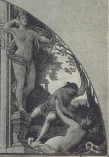M. v. Schwind: Schubert-Lünette in der Wiener Hofoper (1869), links C. Buchwieser im Evas-Kostüm als Zürnende Diana (Quelle: Wikimedia)
