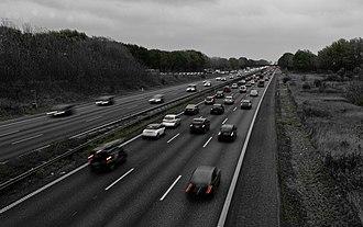 Motorways in Denmark - Morning rush hour on motorway E20, near Copenhagen.
