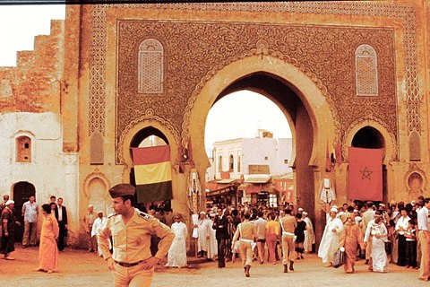 Morocco street scene with city gate