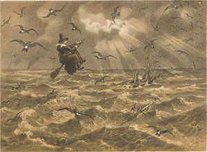 "European storm petrel - ""Mother Carey and her chickens"", a lithograph by J. G. Keulemans, 1877"