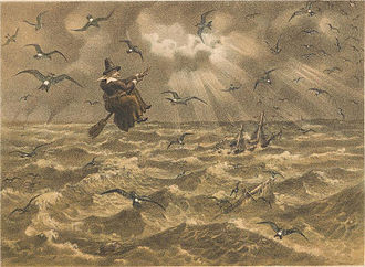 """European storm petrel - """"Mother Carey and her chickens"""", a lithograph by J. G. Keulemans, 1877"""