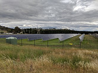 The Mount Majura Solar Farm has a rated output of 2.3 megawatts and was opened on 6 October 2016. Mount Majura solar farm and Majura Parkway.jpg
