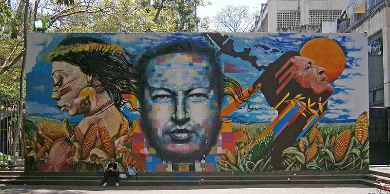 File:Mural Chavez is God in Caracas.jpg