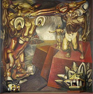 Pablo de Rokha -   Mural of David Alfaro Siqueiros on Tecpan. The gun that de Rokha used to kill himself was a gift from Siqueiros.