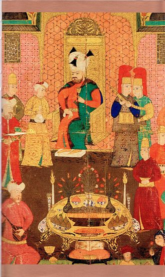 Murad IV - Ottoman miniature painting depicting Murad IV during dinner