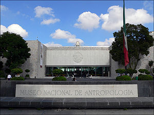 National Museum of Anthropology (Mexico) - Museum's front entrance, depicting: MUSEO NACIONAL DE ANTROPOLOGÍA