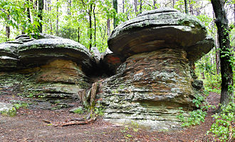 Shawnee National Forest - Rock formations near hiking trail