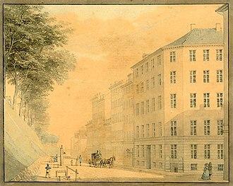Nørre Voldgade - Nørre Voldgade in 1845, painting by H. G. F. Holm