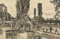 Nürnberg (Nämberch), Henkerbrücke über die Pegnitz (links der Wasserturm) (12588263904).jpg