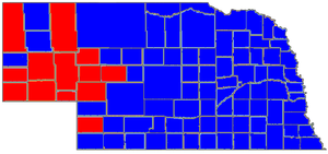 Ben Nelson - Election results by county for Nelson's 2006 reelection bid