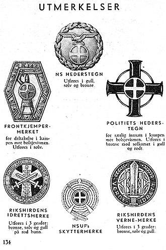 Nasjonal Samling - Image: Nasjonal Samling NS Aarbok 1944 s 134 uniformer Utmerkelser