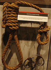 A hangman noose, displayed as a museum exhibit in the National Museum of Crime & Punishment, purportedly used in the Don Jail to hang Jan Ziolko in April 1915, with a card describing this exhibit