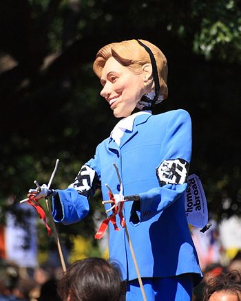 An effigy of Hillary Clinton depicting her as ...