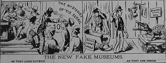 """Dime museum - """"The New Fake Museums"""" — 1889 cartoon suggesting that some """"Dime museums"""" were little more than scams."""