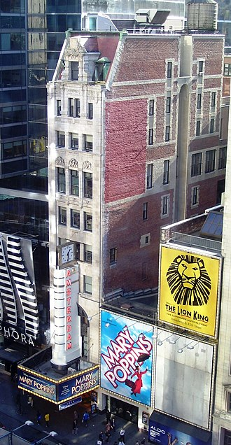 New Amsterdam Theatre - The theatre building in 2011, seen from the 9th floor of the New 42nd Street Building