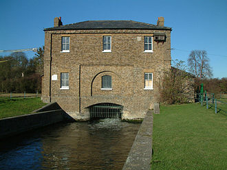 Hugh Myddelton - The New Gauge House (1856) which regulates the abstraction of water from the River Lea into the start of the New River in the foreground.