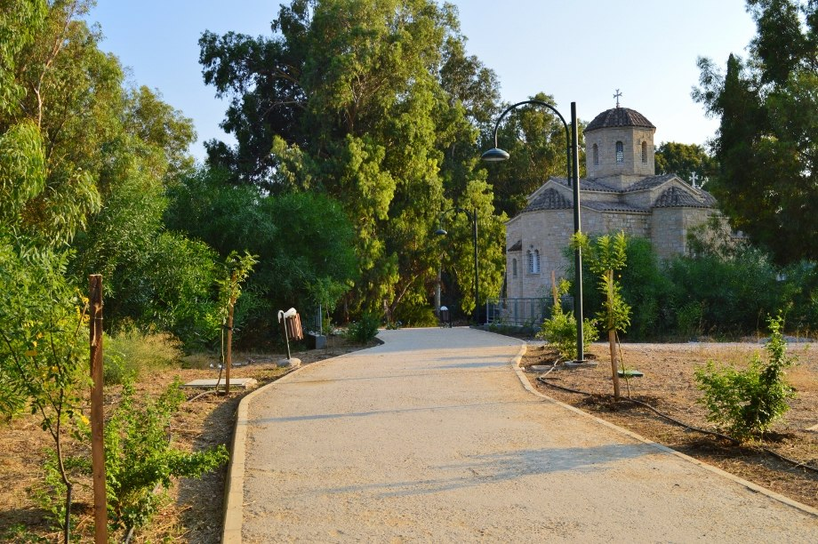 Next to Pedieos river walking routes Green leaf capital monastery church Nicosia Republic of Cyprus