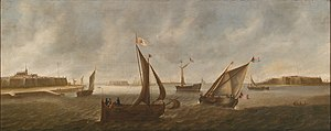 Nicolaes de Kemp - View of a walled city with ships at sail