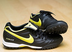 Football boot - A pair of Nike Zoom Air football boots, for use on artificial grass or sand.