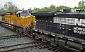 Norfolk Southern Railway - 9397 & Union Pacific Railroad - 9566 diesel locomotives (Marion, Ohio, USA) 2 (28354933637).jpg