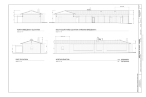 North Breezeway Elevation, South Courtyard Elevation, and East and North Elevations - Westside School, Annex, Corner of Washington Avenue and D Street, Las Vegas, Clark HABS NV-65-A (sheet 6 of 9).png