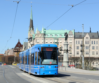 An A34 tram on line 7 at Djurgardsbron. Number 7 tram bound for Sergels Torg in Stockholm Sweden.png