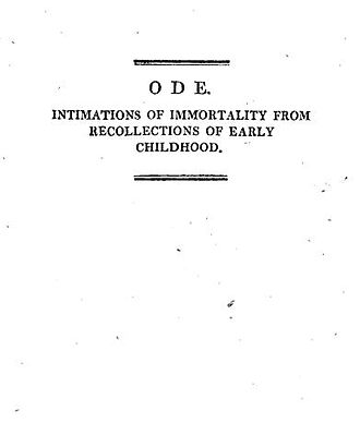 Ode: Intimations of Immortality - Poem's title page from 1815 collection of Poems