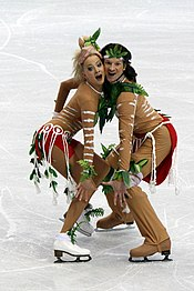 Oksana Domnina and Maxim Shabilin lost their lead after wearing this ridiculous costume, patterned after Aboriginal garb.  From: Wikipedia.