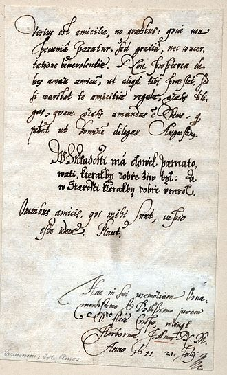John Amos Comenius - Oldest surviving manuscript by Comenius from 1611; written in Latin and Czech