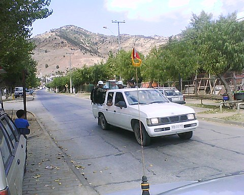 On-scene militaries on a truck, in Lolol, after the March earthquake.