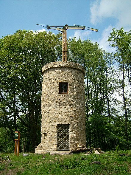 A replica of one of Claude Chappe's semaphore towers (optical telegraph) in Nalbach, Germany OptischerTelegraf.jpg