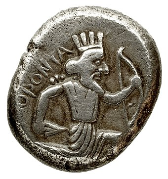Orontes coin with running Achaemenid king. Legend ORONTA (Orontes). Minted in Caria. Orontes coin with running Achaemenid king.jpg