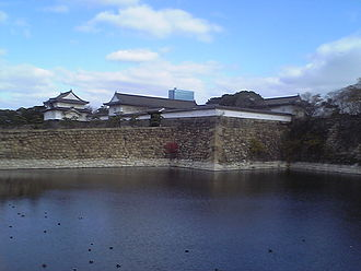 Osaka Castle - Ōte-mon Gate with moat in foreground