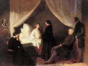 Jane Stirling - Chopin on His Deathbed, by Teofil Kwiatkowski, 1849, commissioned by Jane Stirling. Chopin sits in bed, in the presence of (from left) Aleksander Jełowicki, Chopin's sister Ludwika Jędrzejewicz, Marcelina Czartoryska, Wojciech Grzymała and Kwiatkowski himself.