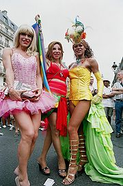 Activists of Transgenders at Gay Pride at Paris in France, June 2005
