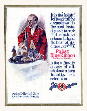 Pabst Blue Ribbon - A 1911 advertisement showing a blue ribbon tied around the bottle